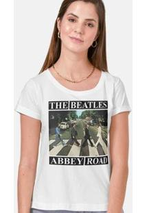 Camiseta The Beatles Abbey Road Capa Feminina - Feminino-Branco