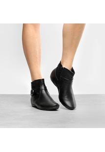 Bota Cano Curto Comfortflex Salto Embutido Fivela Lateral Feminina - Feminino-Preto