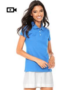 Camisa Polo Aleatory Logo Azul