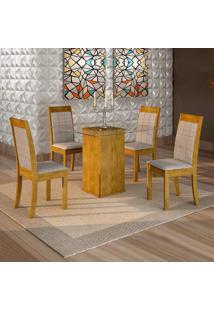 Conjunto De Mesa De Jantar Havana Com 4 Cadeiras Rubi Suede Ypê E Cinza