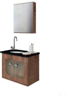 Gabinete De Banheiro Suspenso Com Tampo E Espelheira Siena 45X56,8X34Cm Verde E Wengue Gaam