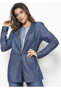 Blazer Jeans Com Recortes - Azul - Maria Valentinamaria Valentina