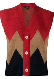 Jejia Chevron Colour Block Cardigan - Vermelho