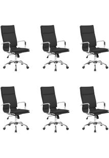 Conjunto Com 6 Cadeiras De Escritório Confort Presidente Preto