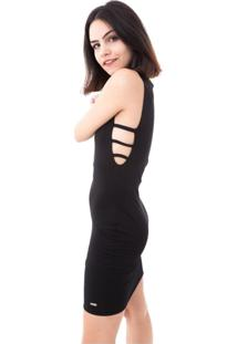 Vestido Moda Vício Com Tiras Na Lateral Preto