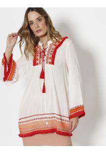 Blusa Com Bordado & Amarração - Off White & Vermelhacanal