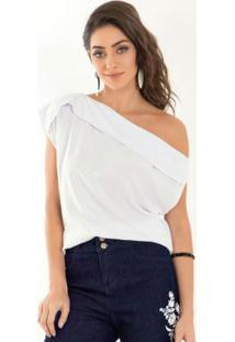Blusa Quintess Branca De Tecido Com Gola