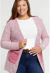Cardigan Feminino Bolsos Plus Size