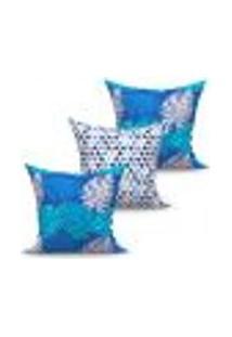 Conjunto De Capas De Almofadas Com 3 Peças Valence Triângulo Azul 45X45 Cm