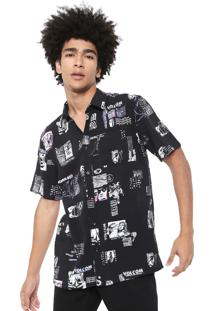 Camisa Volcom Reta Speak To You Preta