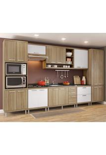 Cozinha Completa Com Balcão Sem Tampo 8 Peças 17 Portas Sicília Multimóveis Argila/Branco