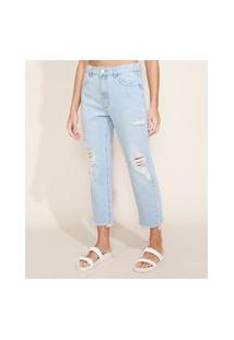 Calça Jeans Feminina Reta Cintura Alta Destroyed Azul Claro