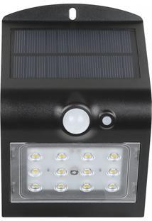 Arandela Solar V Led 15W Sensor De Movimento Preta Demi