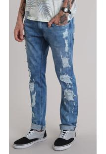Calça Jeans Slim Destroyed Azul Médio