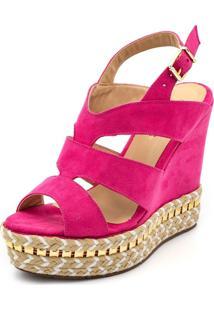 Sandália Anabela Ellas Online Salto Alto Pink - Kanui
