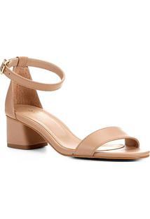 Sandália Shoestock Salto Médio Naked Feminina - Feminino-Noz