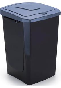 Lixeira Com Tampa Ecofácil 40 Litros Preta E Azul