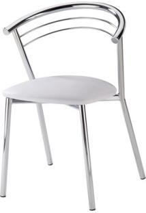 Cadeira Cromada Assento Korino Branco 12237 - Sun House