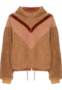 See By Chloé Reversible Chevron-Stripe Shearling Jacket - Marrom
