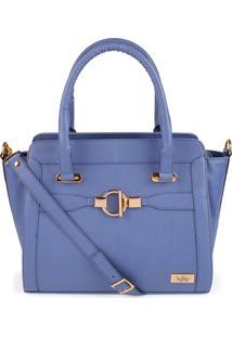 Bolsa De Mã£O Estruturada Com Fechamento De ZãPer Marca Lefity Cor Azul Jeans Modelo Lalã - Azul - Feminino - Dafiti