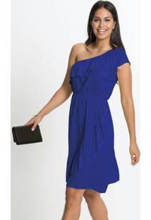 Vestido De Um Ombro Só Com Babados Azul Royal