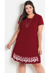 Vestido Plus Size Com Barra Floral Vermelho