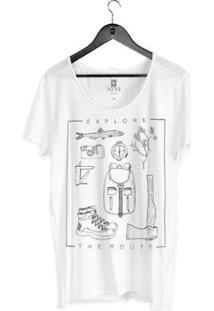 Camiseta Estonada Corte À Fio Joss Explore The Route Masculina - Masculino-Branco