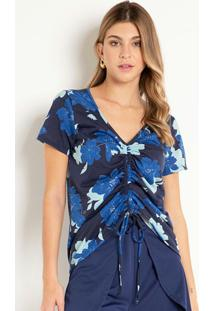Blusa Floral Marinho Com Franzido Regulável
