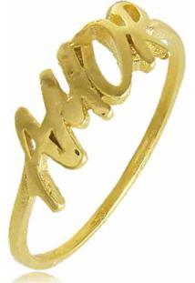 Anel Amor 3Rs Semijoias Dourado - Kanui