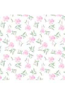 Papel De Parede Flores Branco E Rosa (600X52)