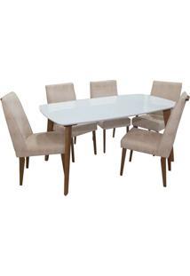 Sala De Jantar Laila Com 6 Cadeiras Canela/Off White