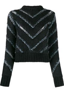 Y/Project Suéter Com Listras Chevron - Preto