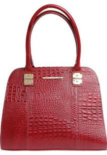Bolsa Em Couro Com Detalhe Metalizado- Vermelha & Douraddi Marlys