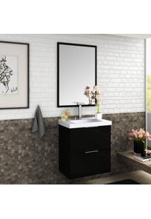 Conjunto Para Banheiro Gabinete Com Cuba E Espelheira Pietra Móveis Bosi Preto/Preto Brilho