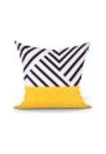 Capa Para Almofada Preta E Amarela 45Cm X 45Cm Com Zíper Tecido Microfibra