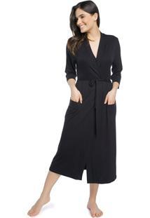 Robe Feminino Midi Preto Com Bolso - Kanui