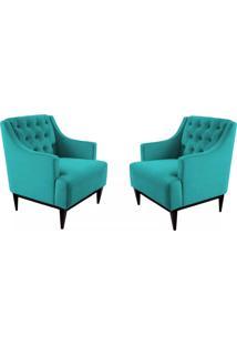 Kit 02 Poltronas Decorativa Clássica Capitonê Suede Azul Tiffany - Ds Móveis