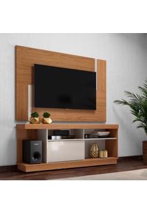 Conjunto De Rack Com Painel Para Tv Até 55 Polegadas Delfos Marrom Claro E Off White 160 Cm