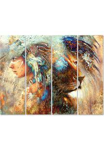 Placa Painel Decorativa Em Mdf Foto Índia E Leão Kit 4 Placas