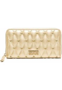 Versace Jeans Couture Carteira Matelassê Metálica De Couro - Dourado