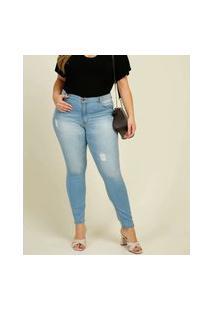 Calça Plus Size Feminina Jeans Puídos Skinny Razon