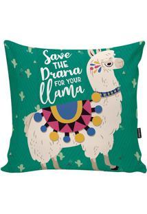 Capa Para Almofada Lhama- Verde & Bege Claro- 45X45Cstm Home