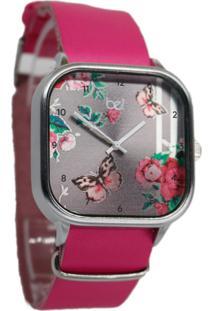 Relógio Bewatchoficial Borboleta Floral Pulseira De Couro Pink