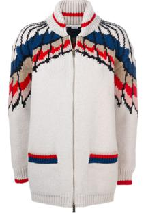 Stella Mccartney Cardigã 'Feather Print' - Branco