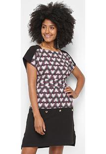 Camiseta Morena Rosa Dress Com Amarração Etampada Feminina - Feminino-Preto+Bege