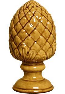 Escultura Decorativa Pinha Amarelo 21 Cm