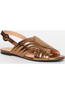Sandália Rasteira Em Couro Metalizado- Bronzeluiza Barcelos