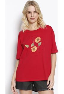 """Camiseta """"Sunflower""""- Vermelha & Amarela- Sommersommer"""