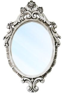 Espelho Turin Entalhado Resina Laca Branca Com Pátina Design De Luxo
