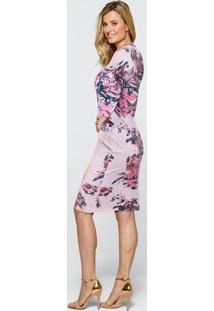 Vestido De Tricô Tubinho Estampado Floral Rosa